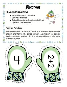 FREE Mitten Match addition activity.