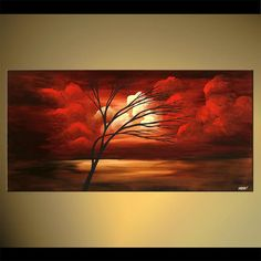 Original Tree Painting Red Landscape Abstract by OsnatFineArt