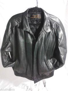 Cognac Black Leather Flight/ Bomber Jacket