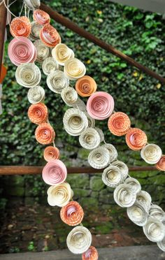 DIY Garlands for Easter and Spring Paper roses garden party garland- Thanirananon Flowers this would be awesome!Paper roses garden party garland- Thanirananon Flowers this would be awesome! Paper Flower Garlands, Diy Flowers, Paper Flowers, Wedding Flowers, Rose Garland, Paper Streamers, Floral Garland, Paper Rosettes, White Flowers