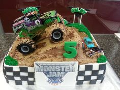 Eli and JD's birthday Digger Birthday Cake, Monster Truck Birthday Cake, Monster Truck Party, 3rd Birthday Cakes, Boy Birthday Parties, Monster Trucks, 4th Birthday, Birthday Ideas, Monster Jam Cake