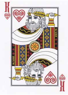 Gods of Mythology Playing Cards - Zeus  - www.marytcusack.com King Of Hearts Card, Weeks In A Year, Cartomancy, Heart Cards, Coincidences, Mythology, Tarot, Playing Cards, The Incredibles