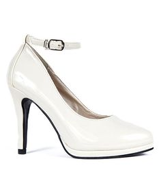 Take a look at this Light Beige Patent Elena Ankle-Strap Pump by Ssh-oes on #zulily today!