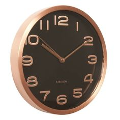 Buy Karlsson Maxie Copper Clock - Black from our Wall Clocks range at Red Candy, home of quirky decor. Minimalist Wall Clocks, Minimalist Bathroom, Red Wall Clock, Copper Home Accessories, Copper Highlights, Quirky Decor, Types Of Carpet, Copper Wall, Red Candy