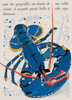 """Extrait du livre pour enfants """"Regarde..."""" par Colette et Méheut, 38,5X29 cm, 1929. Sea Life Art, Sea Art, Lobster Art, Fish Design, His Travel, Zoology, Sea Creatures, Art Techniques, Seaside"""