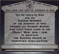 Barnsley War Memorials Project: Barnsley Farrar Street United Reformed Church Memorial Plaque