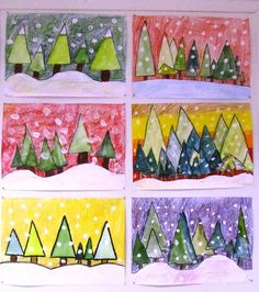 Farbmischübung Source by Christmas Art Projects, Winter Art Projects, Winter Crafts For Kids, School Art Projects, Art For Kids, Kindergarten Art, Preschool Art, Classe D'art, 4th Grade Art