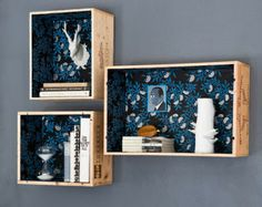 line wooden crates with paper or fabric for d.i.y hanging shelves