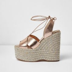 River Island Gold metallic espadrille platform wedges ($130) ❤ liked on Polyvore featuring shoes, sandals, gold, shoes / boots, women, high heeled footwear, ankle tie espadrilles, platform wedge sandals, ankle strap espadrilles and strap sandals