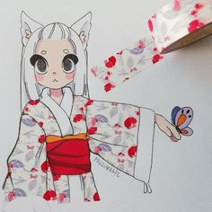 Washi Tape by Paulinaapc on DeviantArt Cute Art Styles, Cartoon Art Styles, Copic Drawings, Cute Drawings, Character Art, Character Design, Tape Art, Estilo Anime, Anime Sketch
