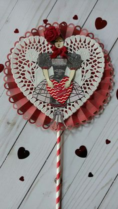 Valentine Lollipop Card created by Brenda Enright using Character Constructions Doll Stamps by Catherine Moore. Mannequin Cafe and French Laundry Collections.