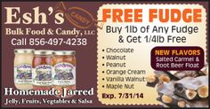 """FREE FUDGE, say """"Whaaat""""! Only at Esh's Bulk Food & Candy with this coupon, get your coupon here. Amish Market, Corn Salsa, Bulk Food, Creamed Corn, Ben And Jerrys Ice Cream, New Flavour, Candy Recipes, Root Beer, Fudge"""