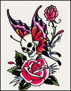 "Ed Hardy-Butterfly Skull Temporaray Tattoo by Tattoo Fun. $4.95. This unique 3 1/2"" x 2 1/2"" temporary tattoo has a pretty skull butterfly flying across two pink roses."