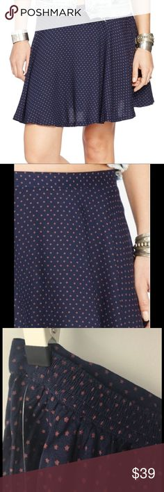 "NWT RALPH LAUREN Star Printed A Line Mini Skirt RALPH LAUREN DENIM SUPPLY Star Print A-Line Mini Skirt NEW WITH TAG Color: NAVY BLUE Size: XSSMLXL Retail Price: $79.50 A-line style 100% rayon Pull-on style, elastic back side of waist Skirt measures approx 17"" in length Denim & Supply Ralph Lauren Skirts Mini"