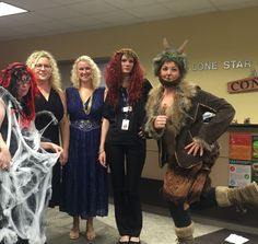 This year's Spooky Spelling Bee had a Greek mythology theme - Arachne, Hera, a Muse, Medusa, Pan (l-r).