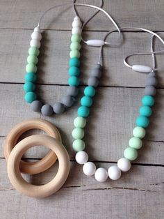 Silicone Teething Necklace Silicone Beads by TheTeethingFairy