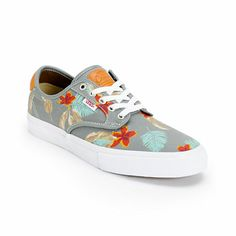 "Feel the natural vibes and pure paradise of the Vans Chima Pro ""Aloha"", featuring a vintage-inspired tropical floral print on light grey background with leather accents. A fresh take on the ultra functional pro model designed by skater Chima Ferguson."