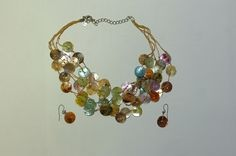 Button necklace and earring set