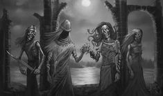 The Family of Death (Tuonela) by TeroPorthan on DeviantArt Thors Hammer, Loki, Statues, Freya, Fnaf Sister Location, Vegvisir, Best Horrors, Akita, Folklore
