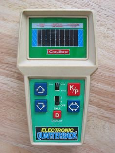 Coleco Electronic Quarterback (1978). It had very little in common with actual football and was totally easy to master, but you could take it with you – unlike your Atari.