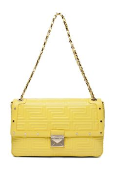 Versace Lamb Leather Handbag in Yellow