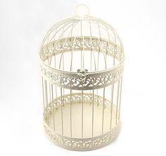 Classic Round Decorative Ivory Birdcage #theweddingoutlet
