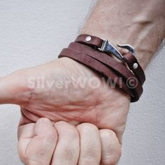 Mens Leather Bracelet - Wrap Design (in BROWN or BLACK)   eBay