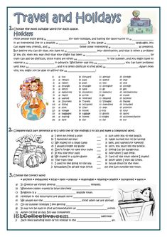 TRAVEL AND HOLIDAYS Vocabulary Worksheets, Grammar And Vocabulary, English Vocabulary, English Grammar, Printable Worksheets, English Test, English Lessons, Learn English, English Class