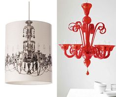 I love the faux chandelier shade on the left.