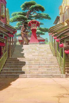 "ghibli-collector: "" Path To The Bath House - The Art Of Hayao Miyazaki's Spirited Away "" Art Studio Ghibli, Studio Ghibli Films, Hayao Miyazaki, Spirited Away Wallpaper, Personajes Studio Ghibli, Studio Ghibli Background, Arte Peculiar, Chihiro Y Haku, Casa Anime"