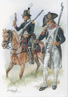 SOLDIERS- Courcelle: French; Dragoon of the Martinique National Guard, c.1805 and infantryman, by P.Courcelle.