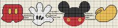 Grille gratuite point de croix : Bavoir Mickey ou petits motifs - Le blog de Isabelle