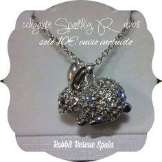 """#nuevo exclusivo colgante """"Sparkling Rabbit"""" Solo 10€ envio incluido. Pedidos: info@rabbitrescuespain.org !no te quedes sin el tuyo!"""
