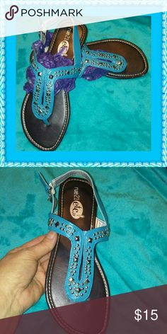 Etc. Turquoise Studded T Strap Sandals Brand New! Super Cute! Turquoise Studded Sandals. Etc. Shoes Sandals