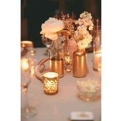 Une déco de table mariage en or rose