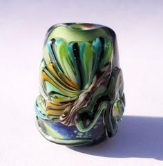 Lampwork focal bead Green Dahlia by KitzbitzArtBeads on Etsy, £14.50