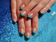 Angled blue-black French manicure