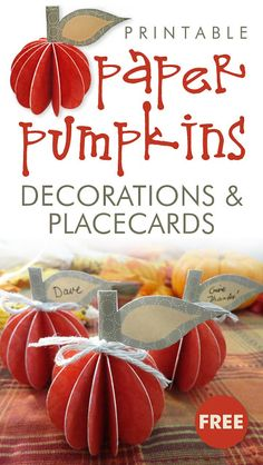 FREE Printable 3D Fall Decorations and Thanksgiving Place Cards | These cute and impressive little pumpkins will dress up your fall mantel or Thanksgiving table. The FREE printables come with an easy-to-follow photo tutorial.  #FallPrintables #FREEPrintables #ThanksgivingPlacecards #ThanksgivingPrintables #PumpkinPrintables #PumpkinCraft #EasyPumpkinCraft #CarlaChadwick Thanksgiving Place Cards, Thanksgiving Table Settings, Diy Thanksgiving, Autumn Crafts, Fall Crafts For Kids, Holiday Crafts, Fall Decorations, Thanksgiving Decorations, Pumpkin Printable