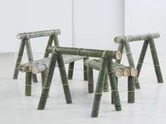 the bamboo trestle and seating pieces have been designed to be delivered in a rather small packing unit, making it ideal for sale online, and is easily assembled. Bamboo Roof, Bamboo Poles, Bamboo Art, Bamboo Crafts, Bamboo Ideas, Bamboo House Design, Bamboo Architecture, Natural Architecture, Bamboo Structure