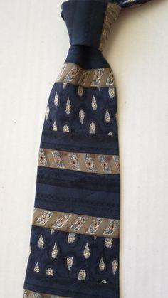 HENRY GRETHEL men #silk necktie blue with geometric pattern ( Italian silk) visit our ebay store at  http://stores.ebay.com/esquirestore
