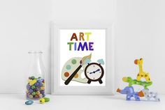 "Artist palette illustration and bold rainbow font ""ART TIME"" is perfect for your DIY Daycare