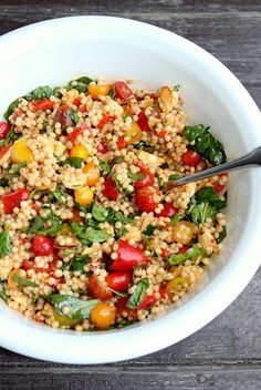 Israeli Couscous Salad with Smoked Paprika, Tomatoes, and Mozzarella