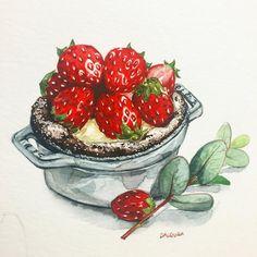 205 отметок «Нравится», 6 комментариев — watercolor food painting/맛있는그림 (@dalgura) в Instagram: «#딸기#초코#strawberry #chocolate #いちごケーキ…»