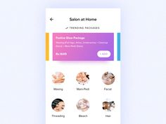 Hi guys, This is the salon at home category screen. Here users can explore various trending packages and other individual items.  Download the UrbanClap app : Google Play | App Store