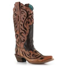 Corral Women's Chocolate Sequin Inlay Snip Toe Western Boots