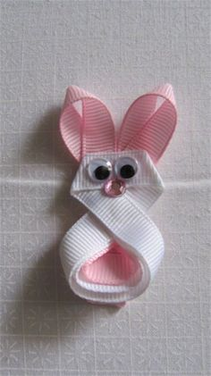 Bunny ribbon sculpture clippie