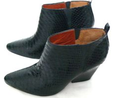 Rebecca Minkoff La Roux Snake-Print Ankle Wrap Bootie Size 8M Made In Brazil #RebeccaMinkoff #AnkleBoots #Casual
