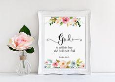 Bible Verse Print, God Is Within Her She Will Not Fall, Bible Nursery Decor, Scripture Prints, Scripture Art, Christian Wall Art, Psalm 46:5