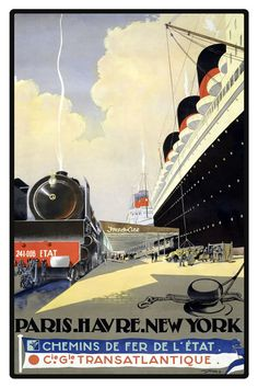 Art Print France Le Havre New York 1950s - Print 8 x 10