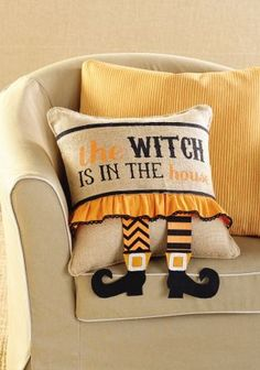 Halloween Witch Leg Pillow Wrap<BR>Burlap Pillow Also Available!<BR>Now in Stock